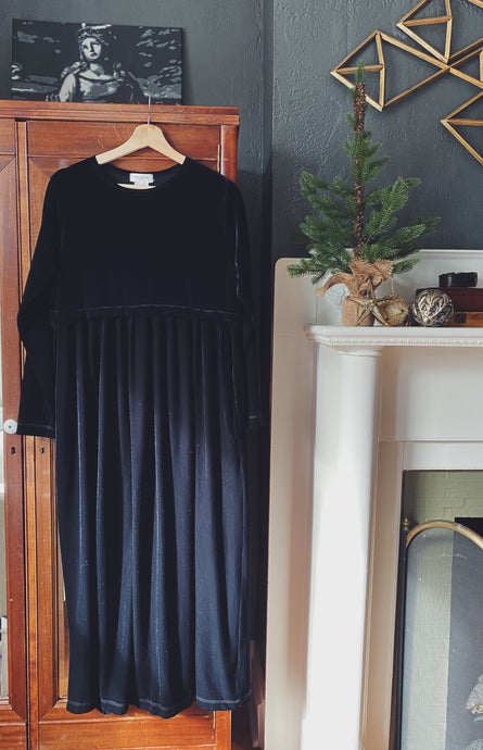 Vintage 90s Velvet Empire Waist Long Sleeve Maxi Dress