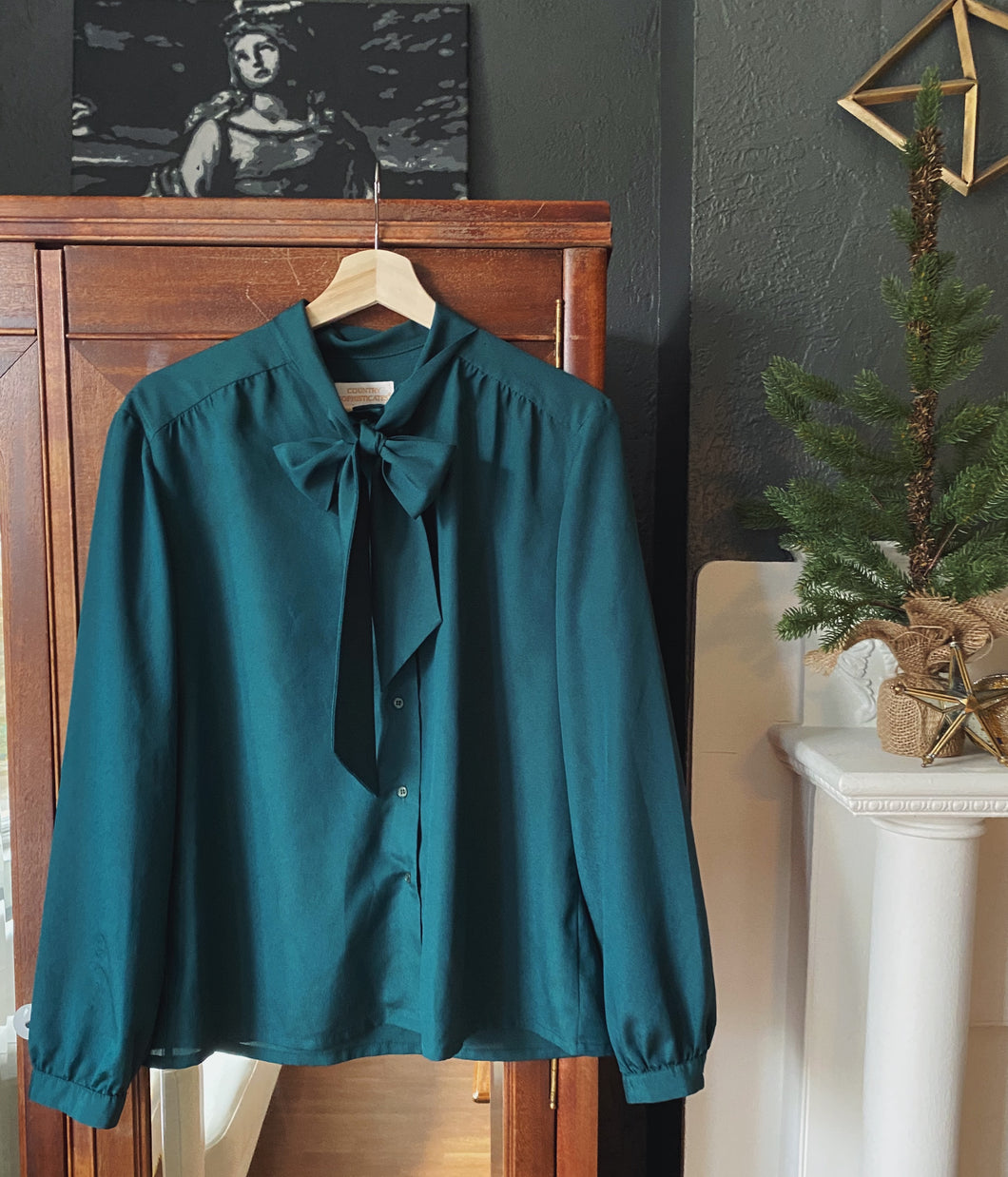 Vintage Pendleton Deep Green Secretary Bow Blouse