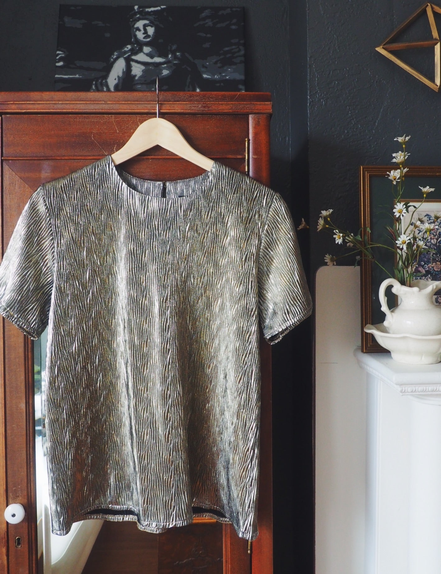 Vintage Cool Light Gold Metallic Top