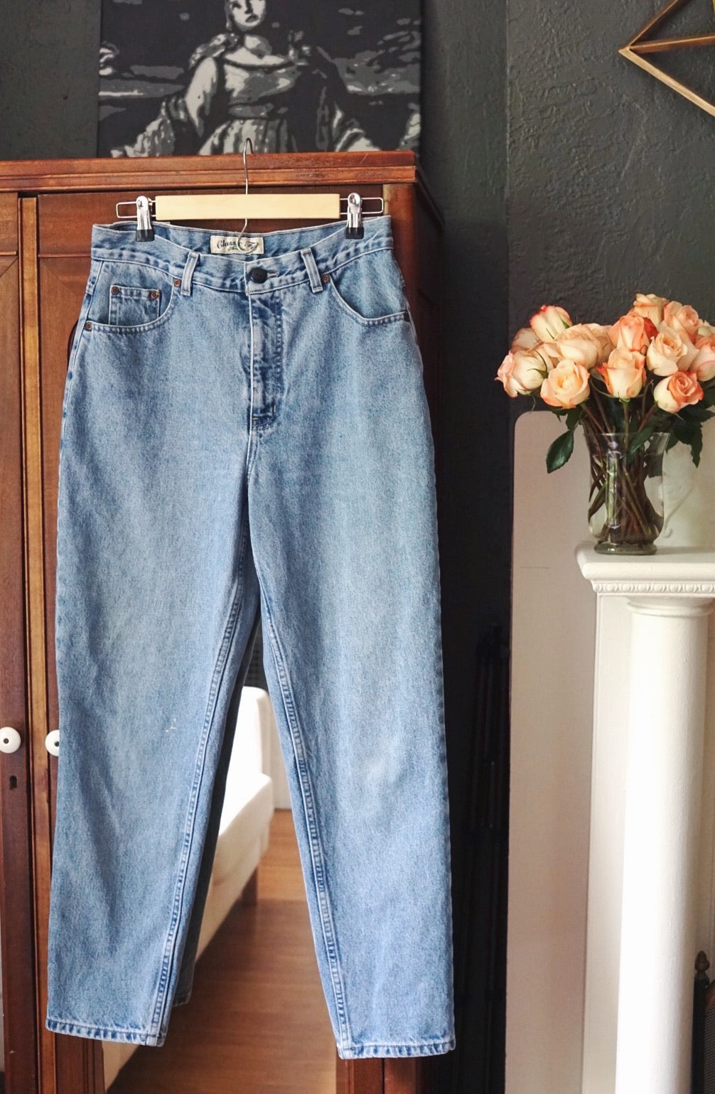 Vintage High-Waist Stone Wash Denim
