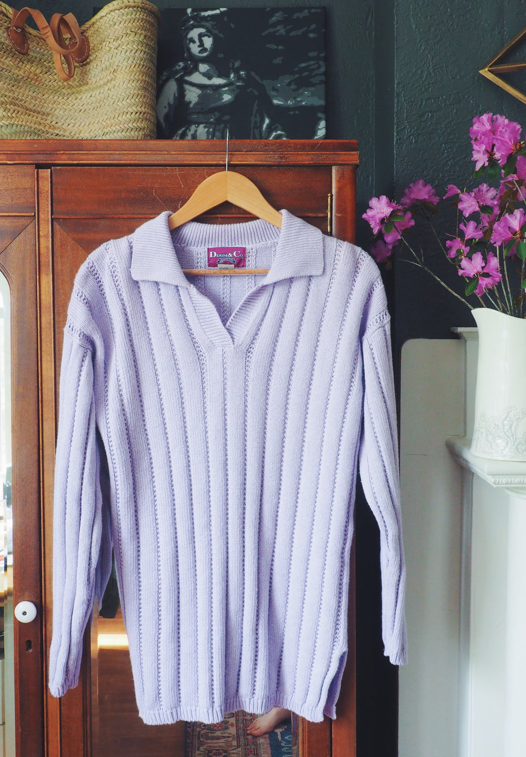 Vintage Oversized Lavender Pullover Knitted Sweater