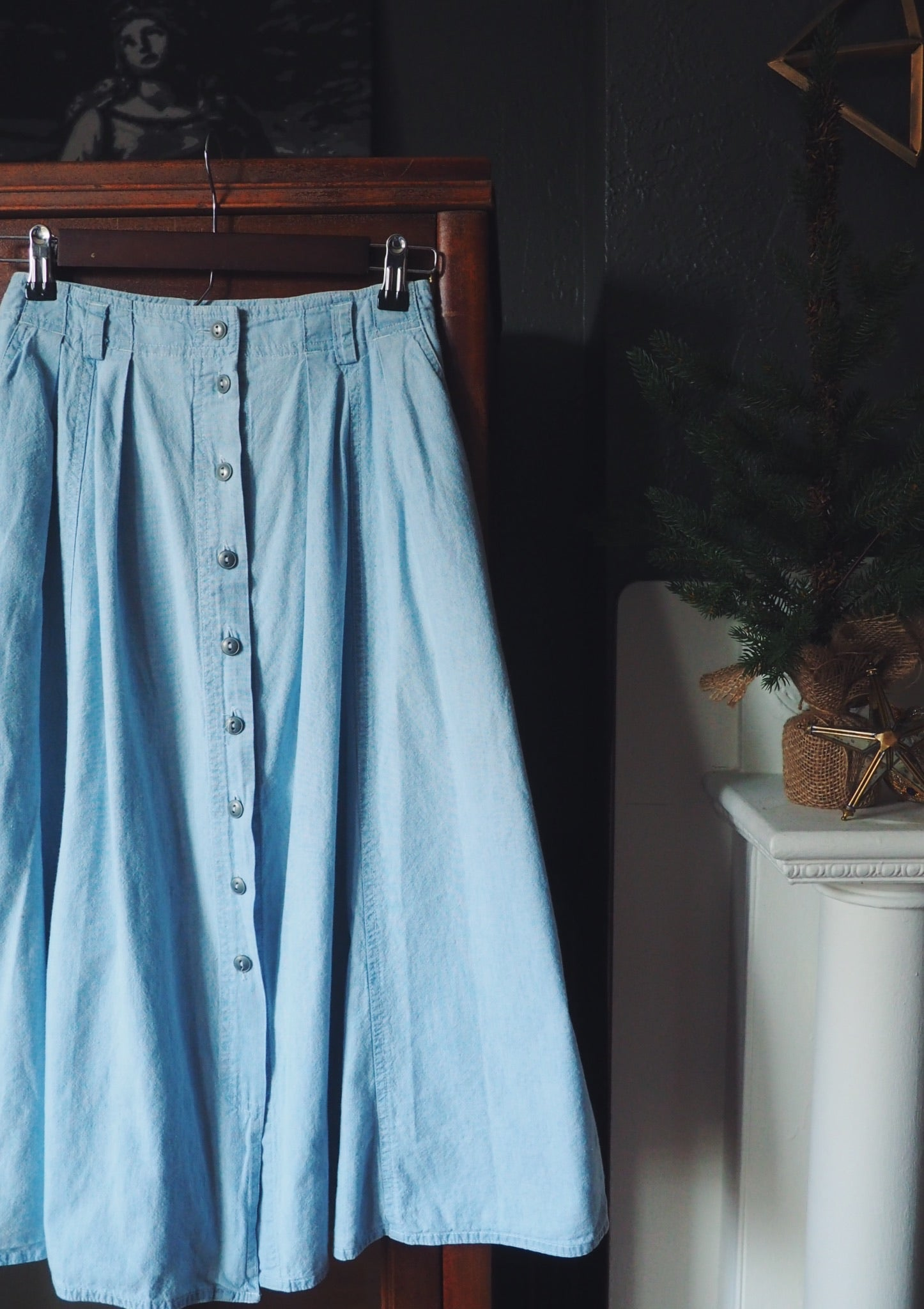 Vintage Button Front A-Line Denim Midi Skirt