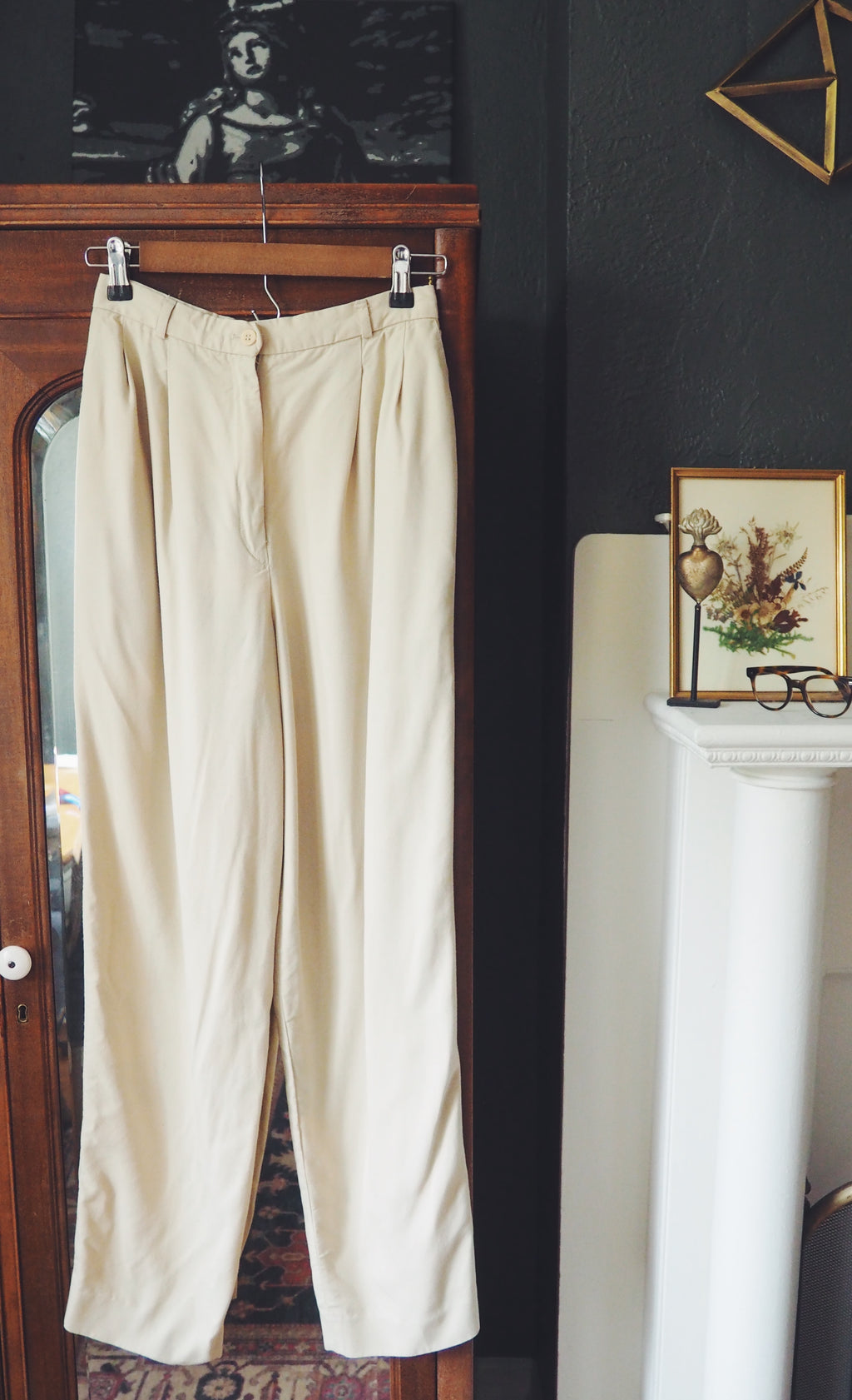 80s High Waist Khaki Trousers