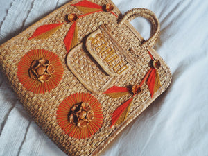 Vintage Orange Floral Basket Weave Handbag