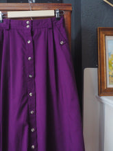 Load image into Gallery viewer, Vintage Cotton Purple Button Front Midi