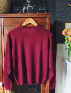 Vintage Burgundy Mockneck Sweater