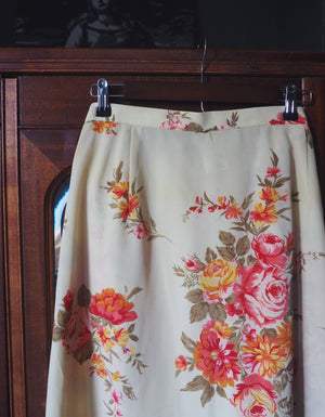 Plus Size Vintage Cream Floral Midi Skirt