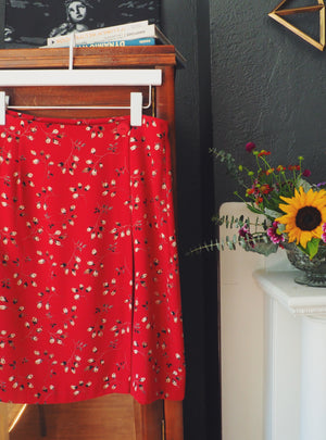 90s Floral Short Wrap Skirt