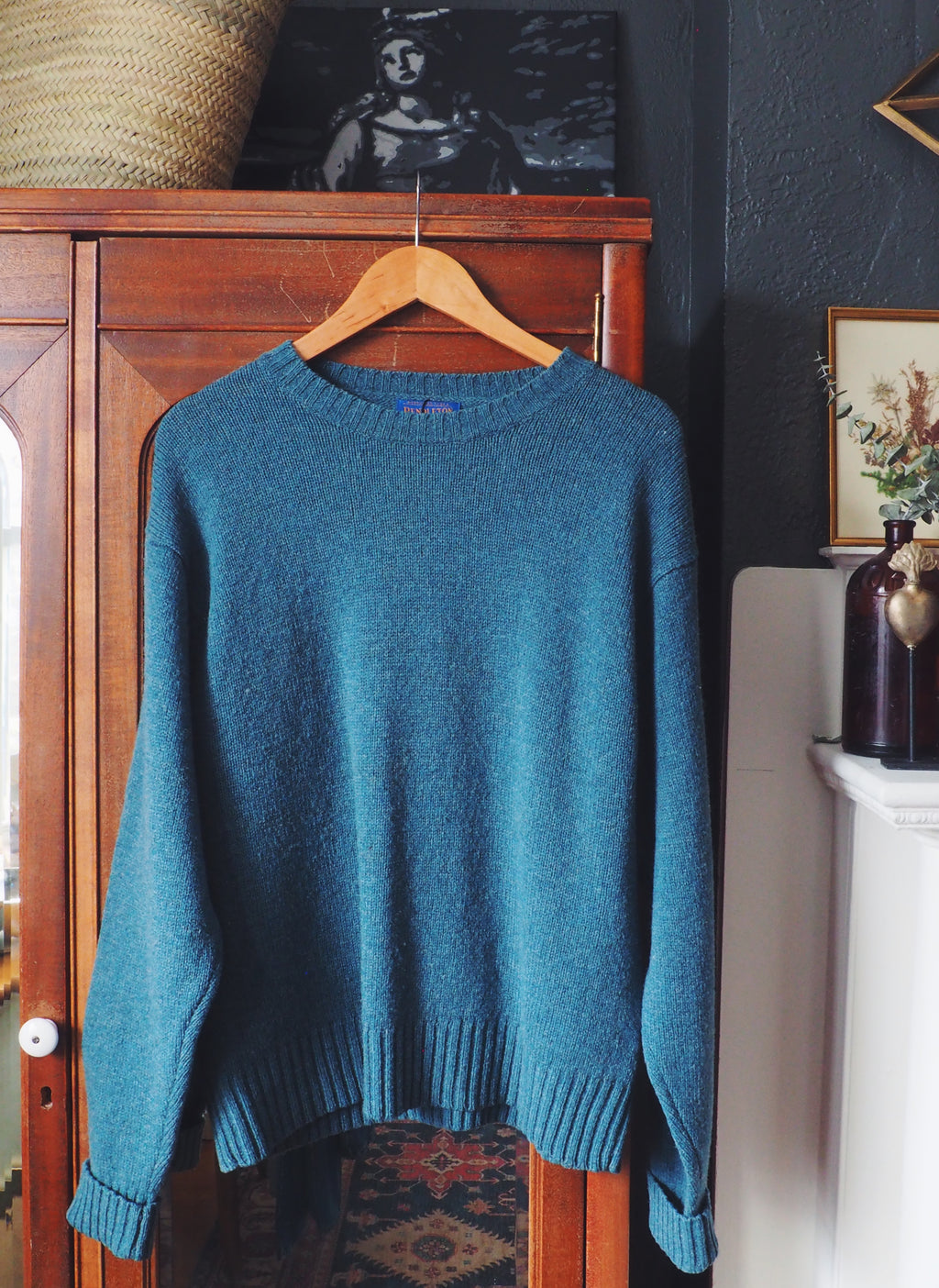 100% Wool Teal Pendleton Crewneck Sweater