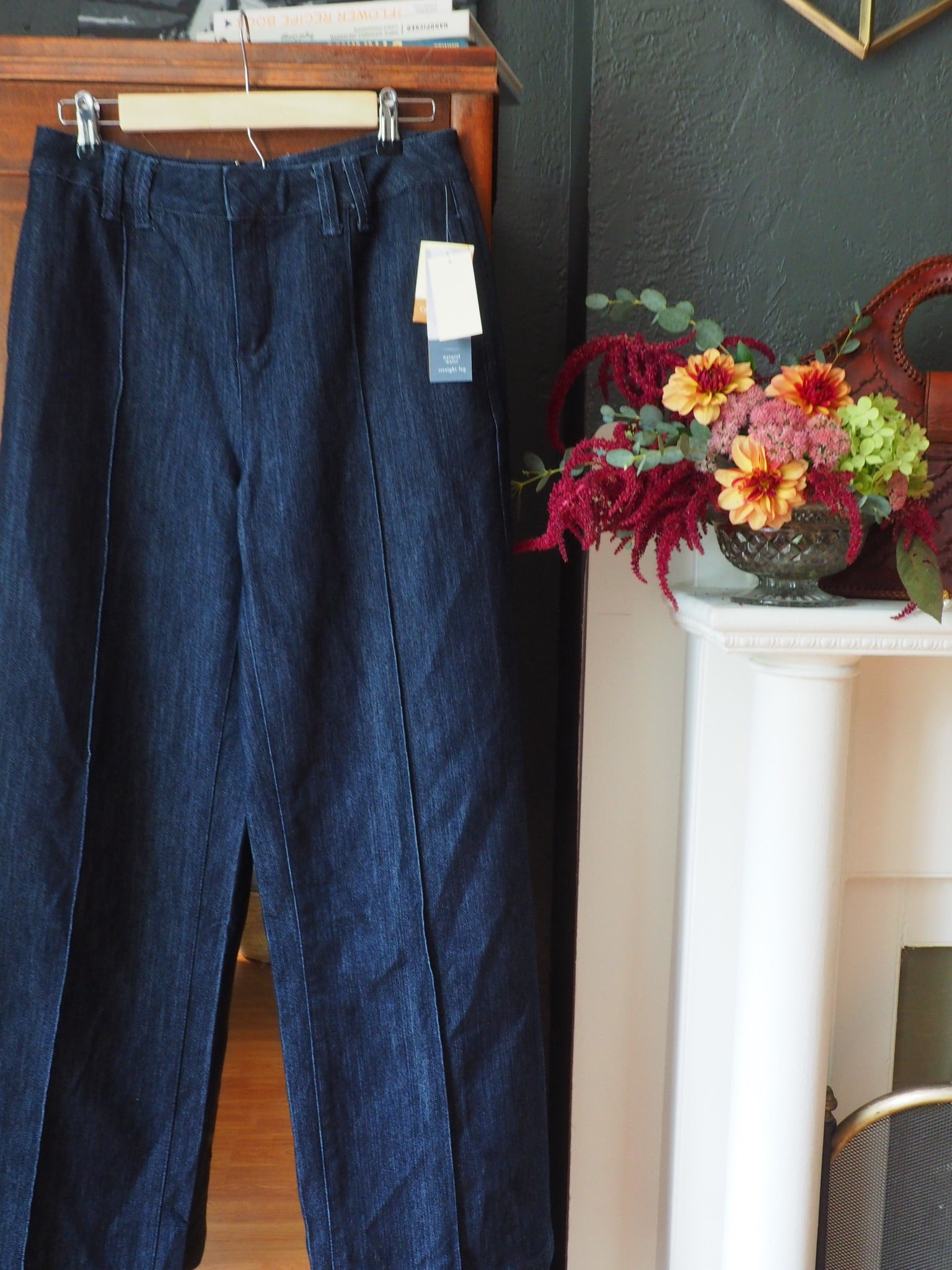 Vintage Dark Wash Pickstitch Trousers