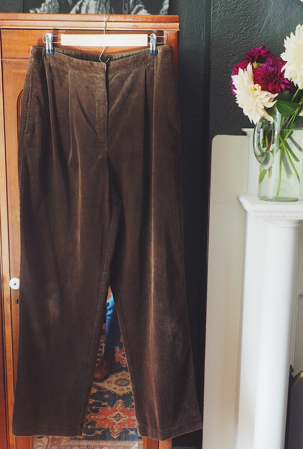 Vintage Mossy Brown Corduroy High-Waist Trouser