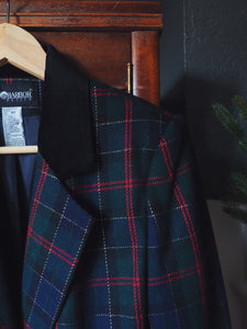 Vintage Plaid and Gold Blazer with Velvet Collar