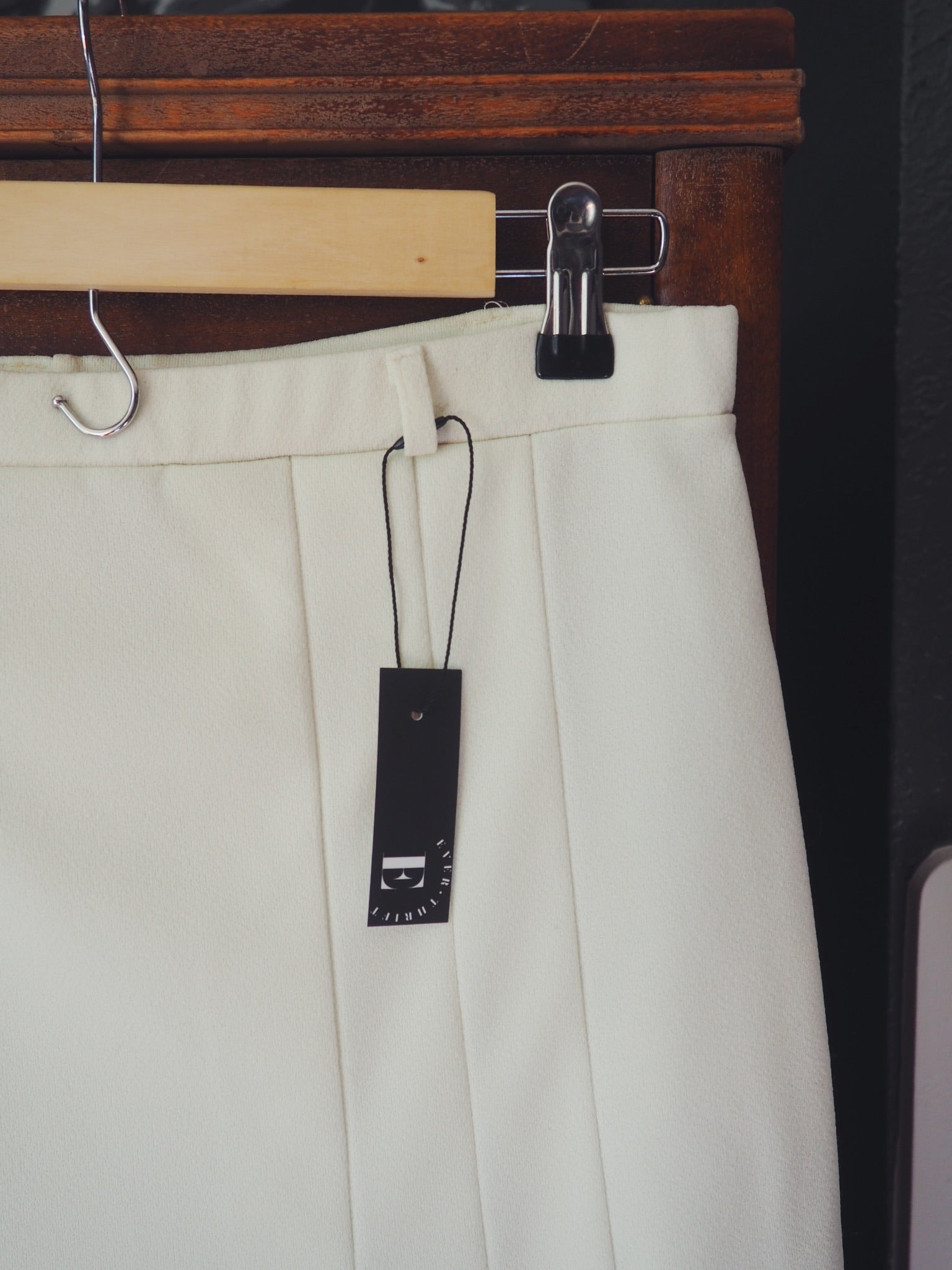 Cream Pleated Skirt