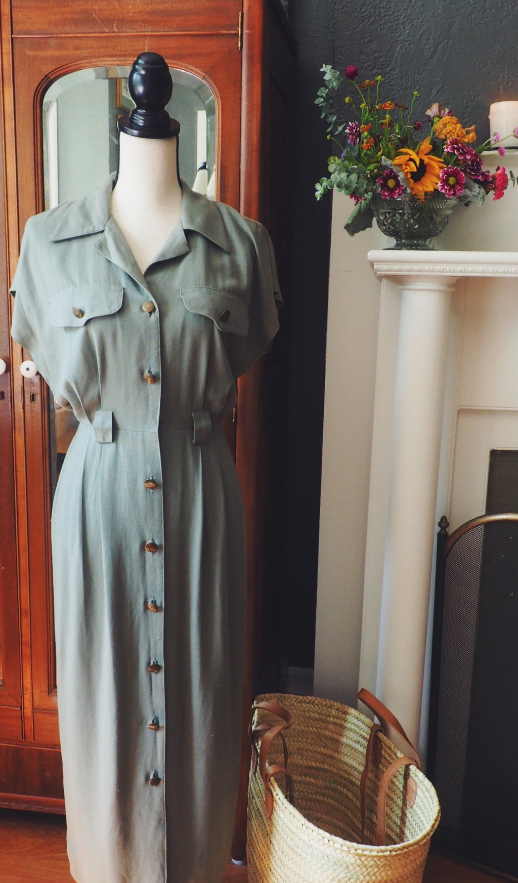 Olive Brass Button Down Dress