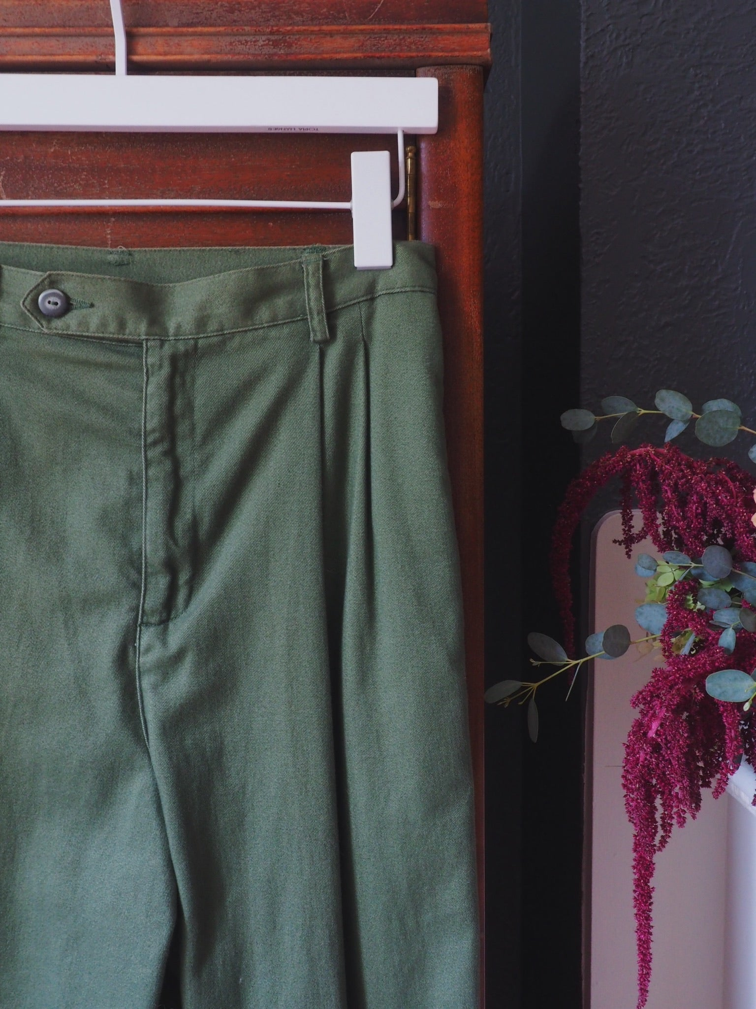 Vintage Petite Olive Green High Waisted Cuffed Pants