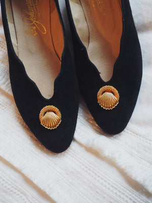 Vintage Leather Scalloped Pumps