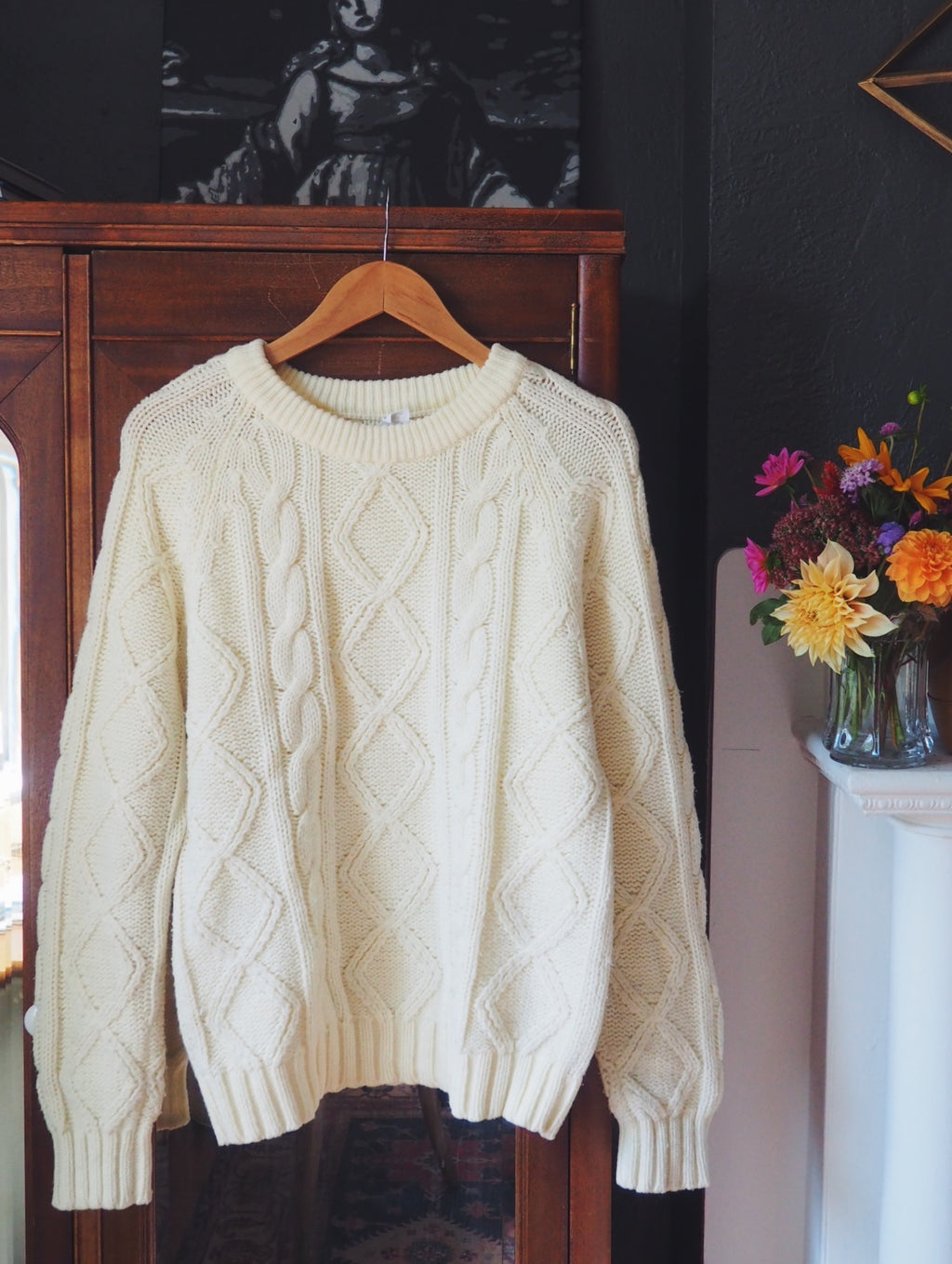 Vintage Cream Cableknit Sweater