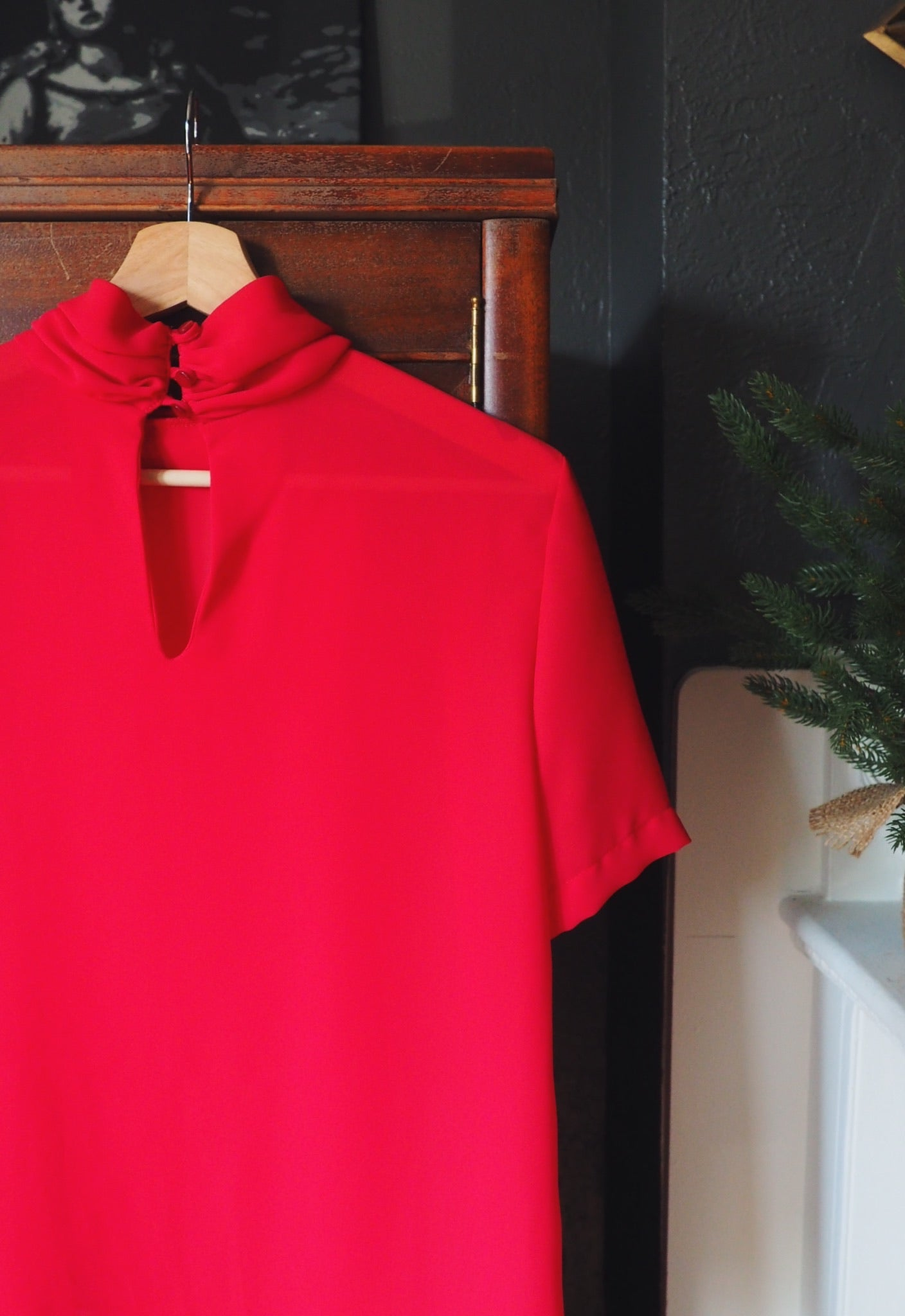 Vintage Cherry Red Short Sleeve Blouse
