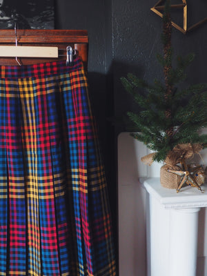 Vintage Plaid Pleated Skirt in Primary Colors