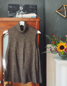 Heather Brown Sleeveless Turtleneck Sweater