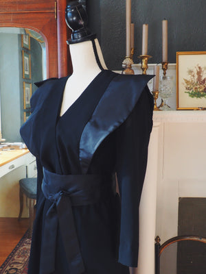 Vintage Black Kimono Belted Dress