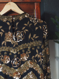 Vintage 100% Silk Gold Beaded Blouse