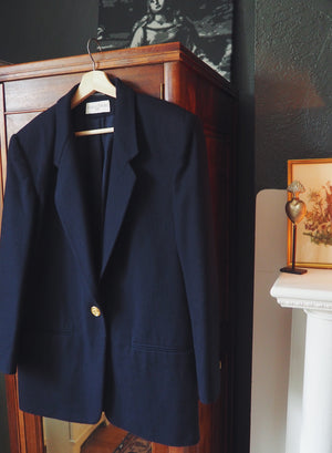 Vintage Made in Slovakia Navy Blue Blazer