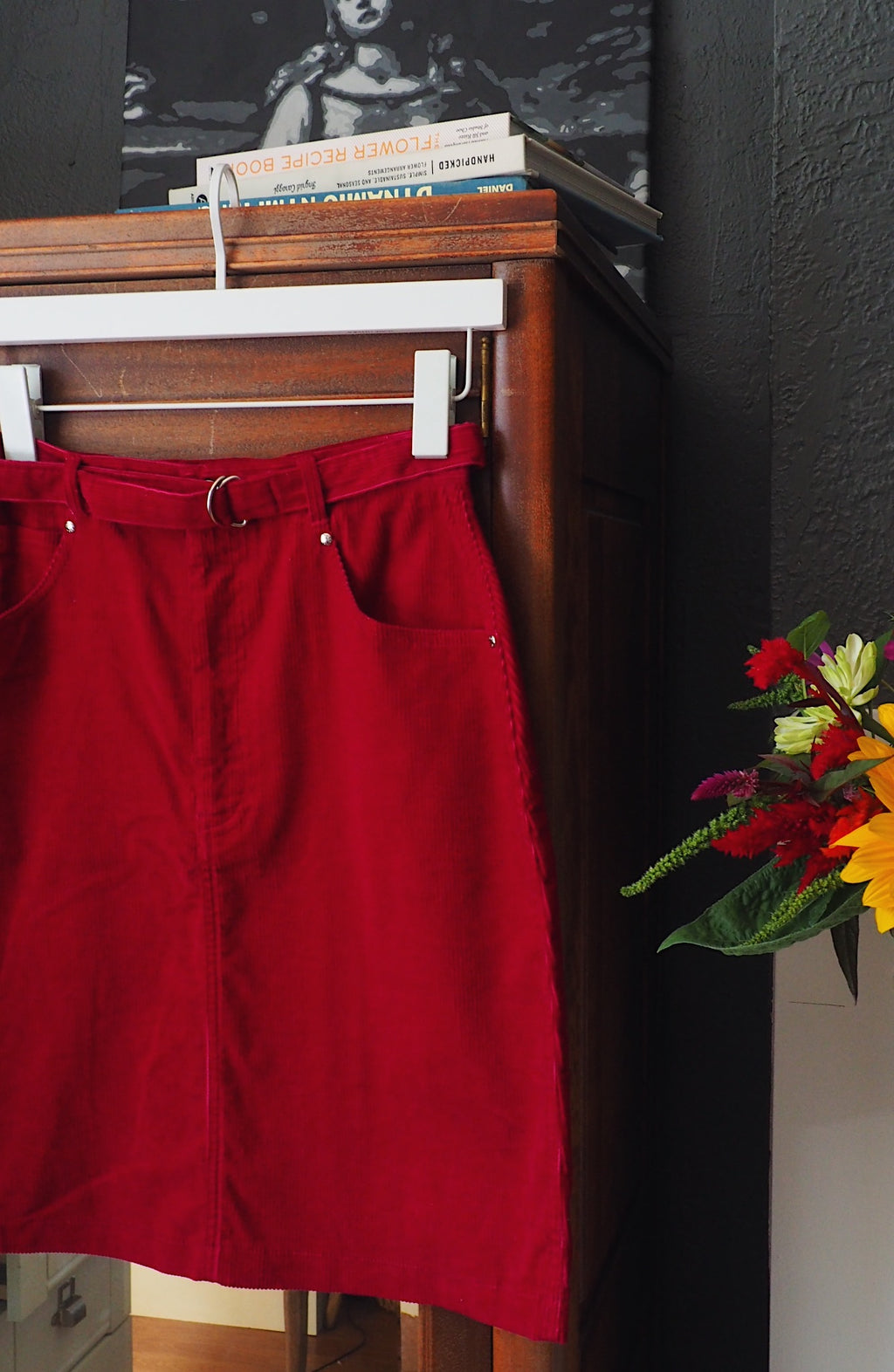 Vintage Berry Corduroy Belted Skirt