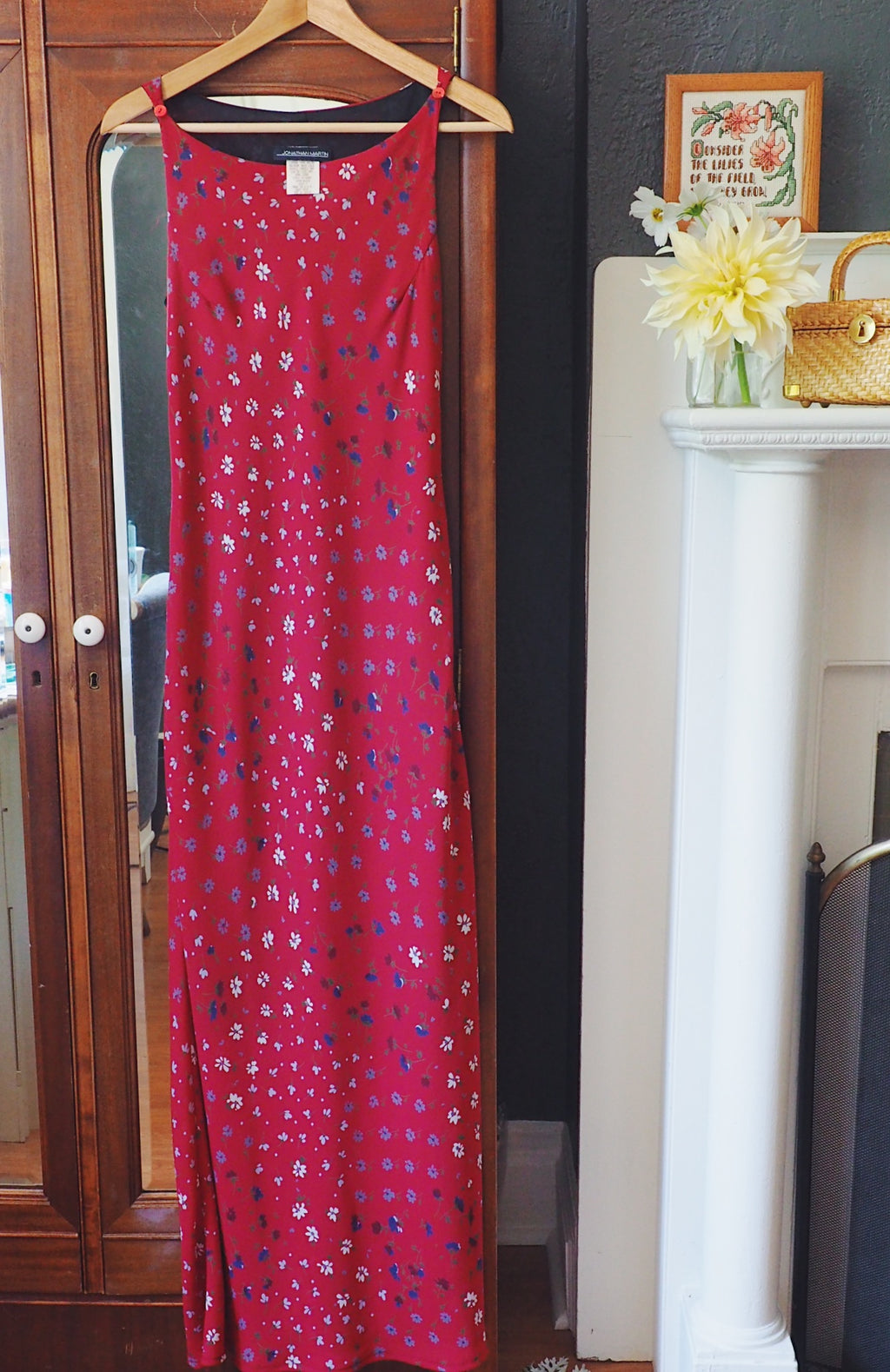 90s Red Floral Sleeveless Maxi Dress