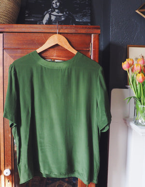 100% Silk Olive Green Blouse