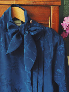 80s Navy Secretary Bow Blouse