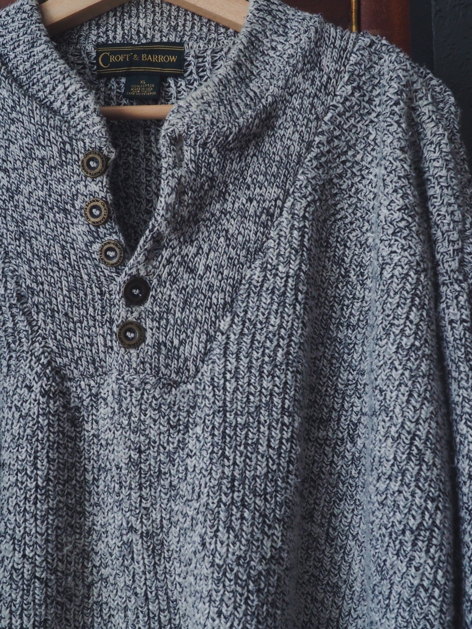 90s Cotton Heather Gray Sweater