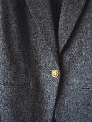Vintage 100% Wool Charcoal Gray Blazer