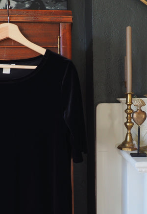 90s Black Velvet Blouse