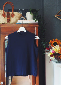 Vintage Navy Mockneck Sleeveless Top