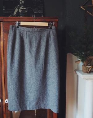 Vintage Wool Pencil Midi Skirt