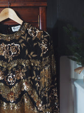 Load image into Gallery viewer, Vintage 100% Silk Gold Beaded Blouse