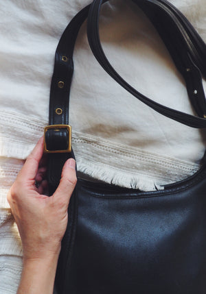 Vintage Black Leather Crossbody
