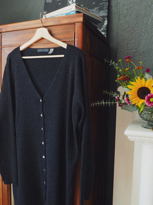 100% Merino Wool Charcoal Cardigan