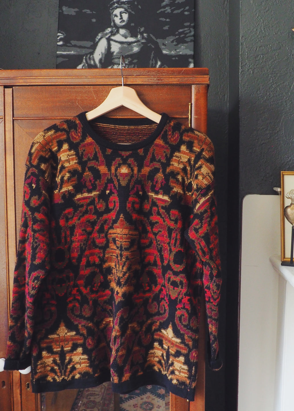 80s Cotton Bold Print Sweater