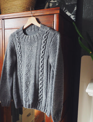 Gray Fisherman Cable-knit Mock-neck Sweater