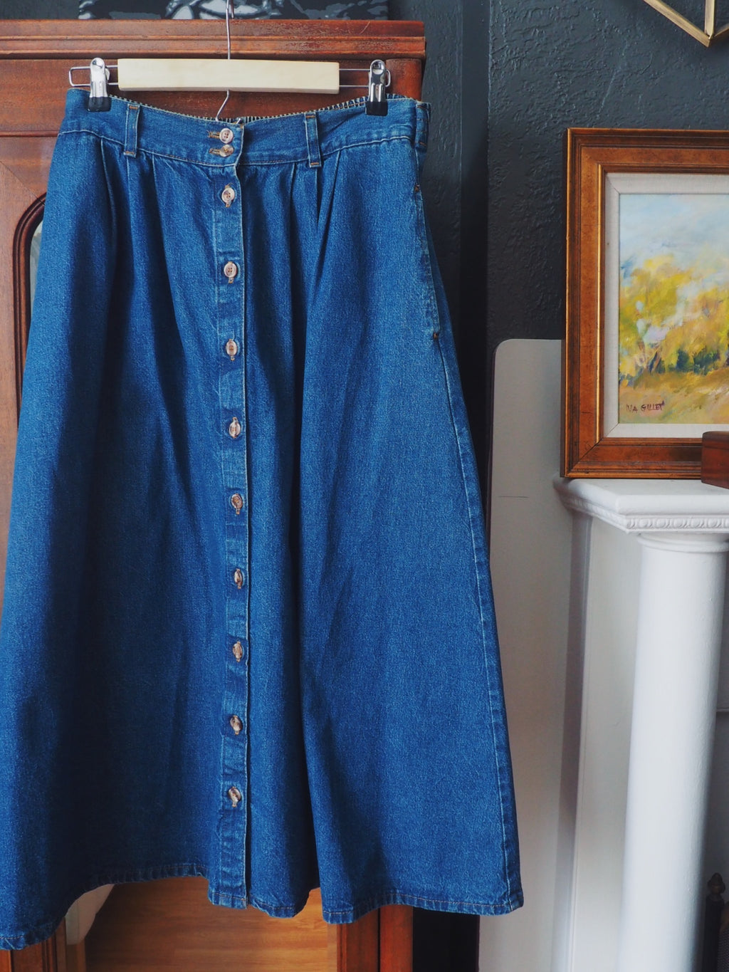 Vintage Denim Button Front Midi Skirt