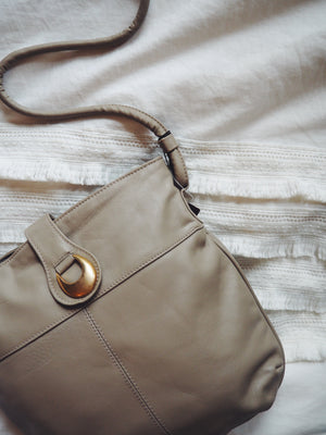 80s Genuine Leather Taupe Purse