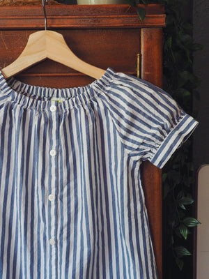 Girls Striped Short-Sleeve Sundress