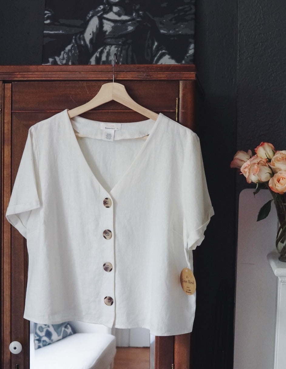 Short Sleeve Button Front Blouse