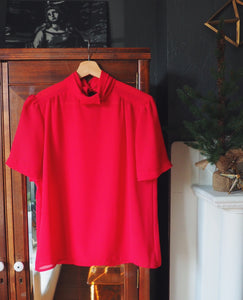 Vintage Cherry Red Blouse