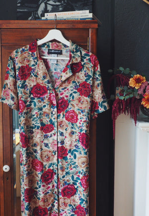 Vintage Floral Button Down Maxi Dress