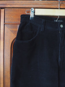 Black Corduroy High Waist Pants