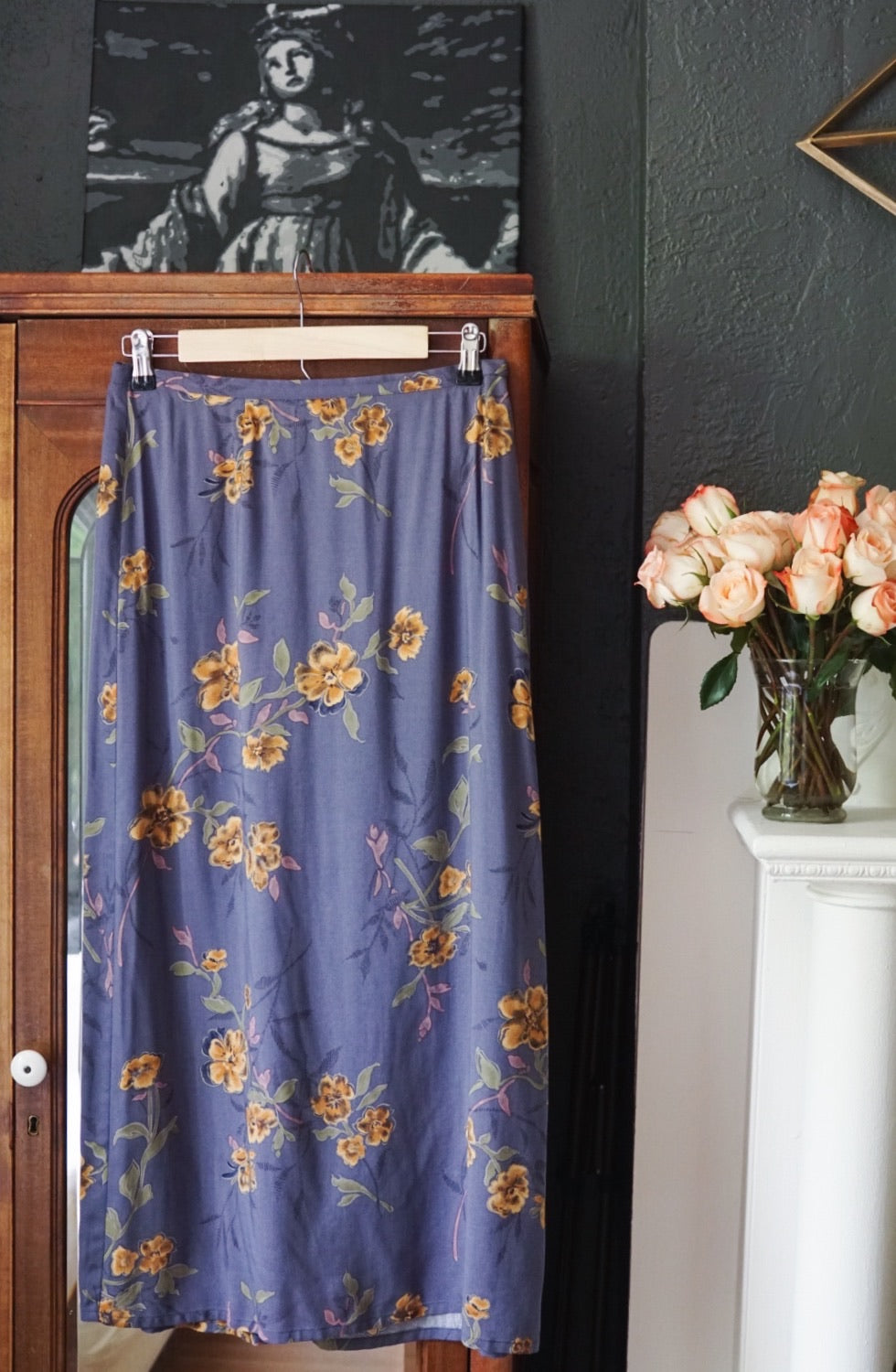 Vintage Purple Floral Midi Skirt