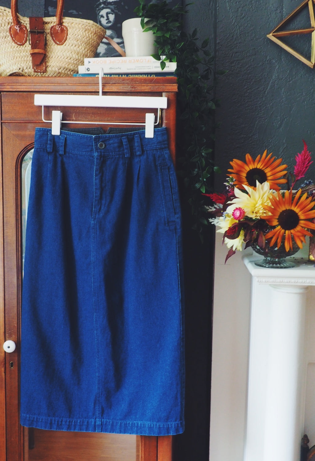 80s Denim Pencil Midi Skirt